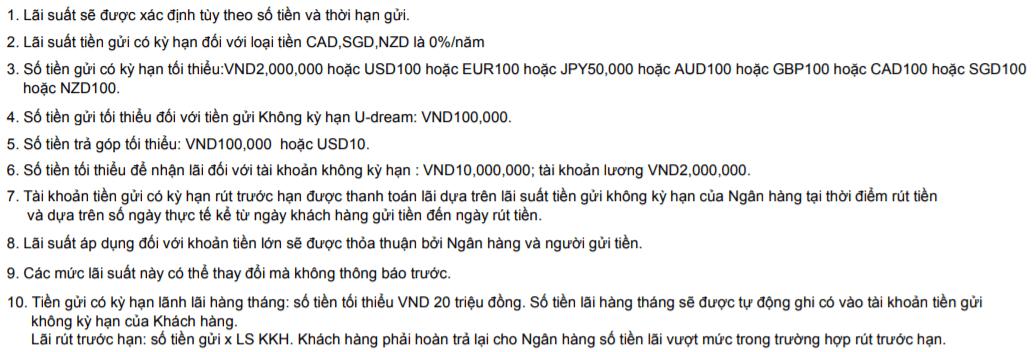 Lưu ý Tiền gửi tích lũy an gia Ngân hàng Shinhan